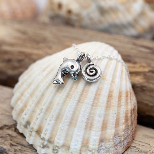 Sterling Silver - Dolphin & Wave