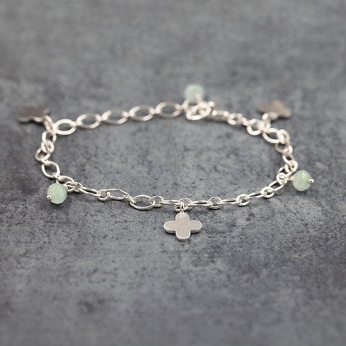 Flower & Aquamarine stone Charm Bracelet