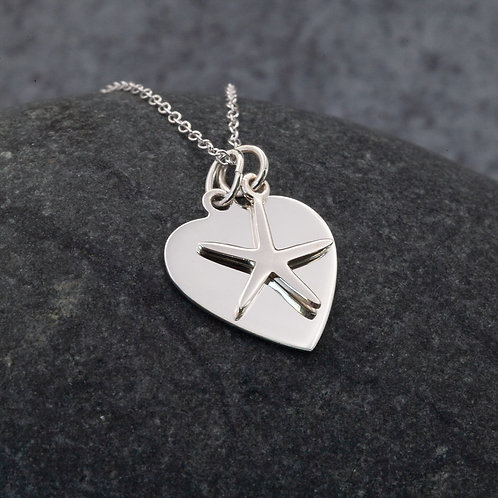 Sterling Silver - Heart & Starfish Pendant Necklace