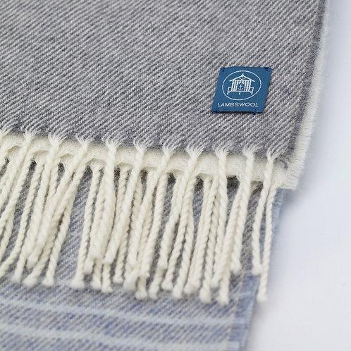 Lambswool Wrap/Blanket Scarf - Stripe Light Blue/Off White