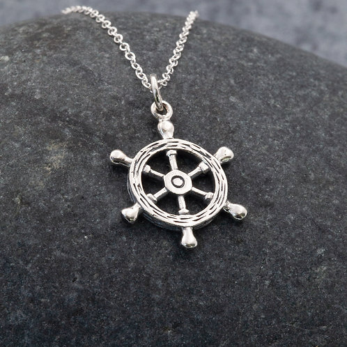 Sterling Silver - Ship Wheel Pendant Necklace
