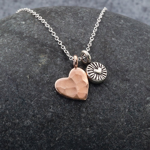 Sterling Silver - Double Heart - Rose Gold Vermeil