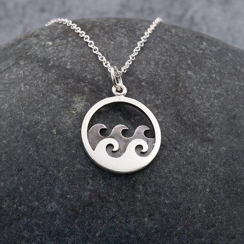 Sterling Silver - Sennen Double  Wave Pendant Necklace