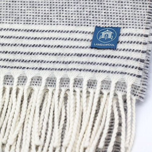 Lambswool Wrap/Blanket Scarf - Stripe Charcoal/Off White