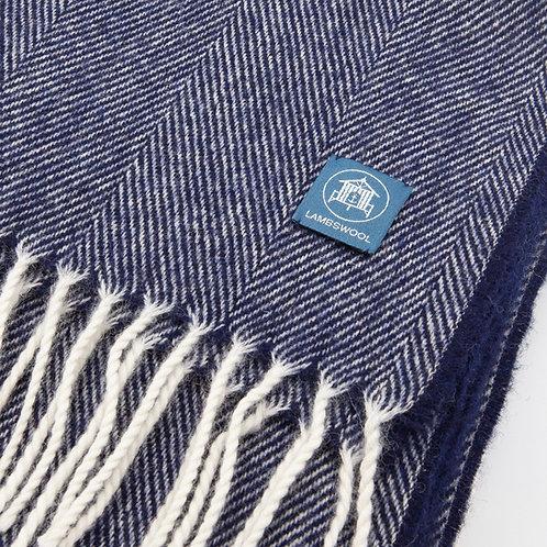 Lambswool Wrap/Blanket Scarf - Navy