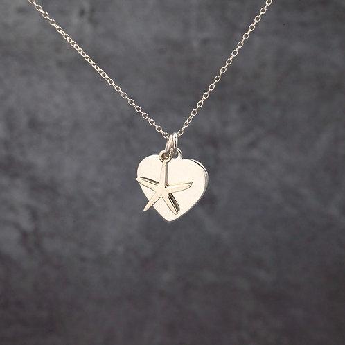 Heart & Starfish Charm Pendant