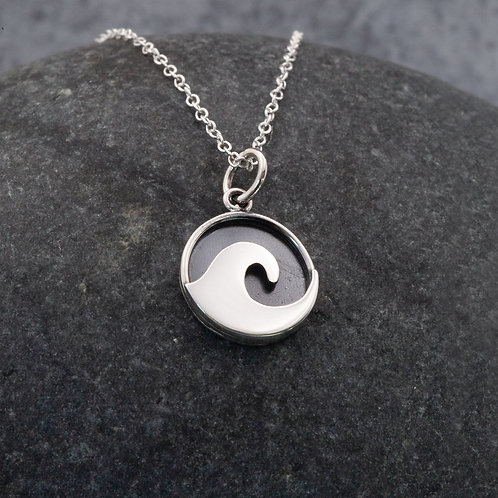 Sterling Silver - Porthmeor Wave Pendant Necklace