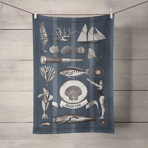 Vintage Shell Tea Towel