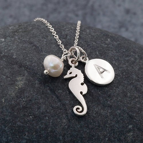 Sterling Silver - Seahorse, Pearl, Initial Charm Cluster Pendant