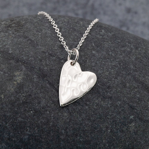 Sterling Silver - Hammered Heart