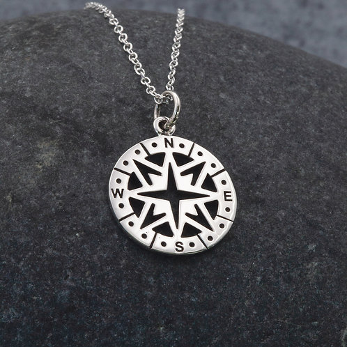 Sterling Silver - Compass Charm Pendant Necklace