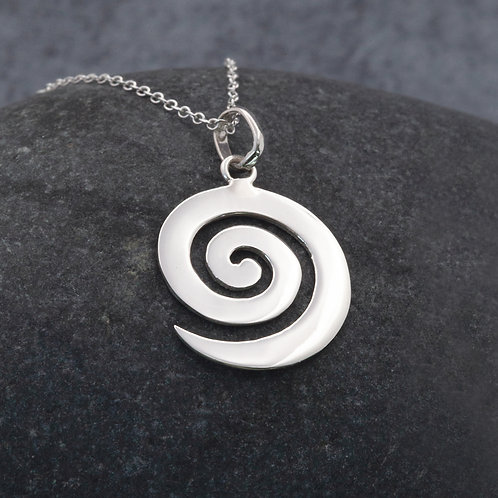 Sterling Silver - Large Wave Pendant