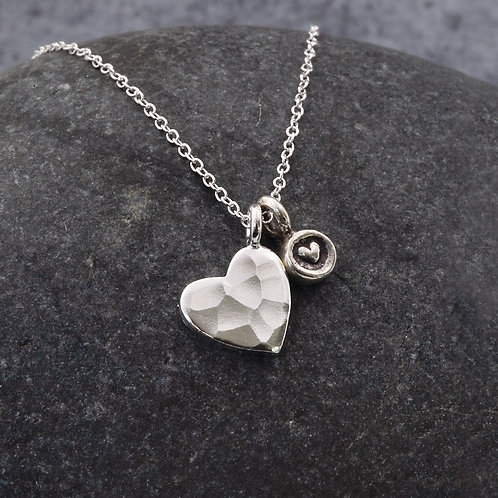 Sterling Silver - Double Heart Pendant Necklace