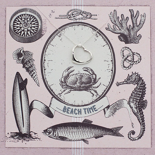 Beach Time  Heart - Jewellery Card Sterling Silver