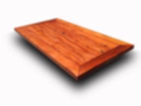 mesa de fibra com tampo de madeira