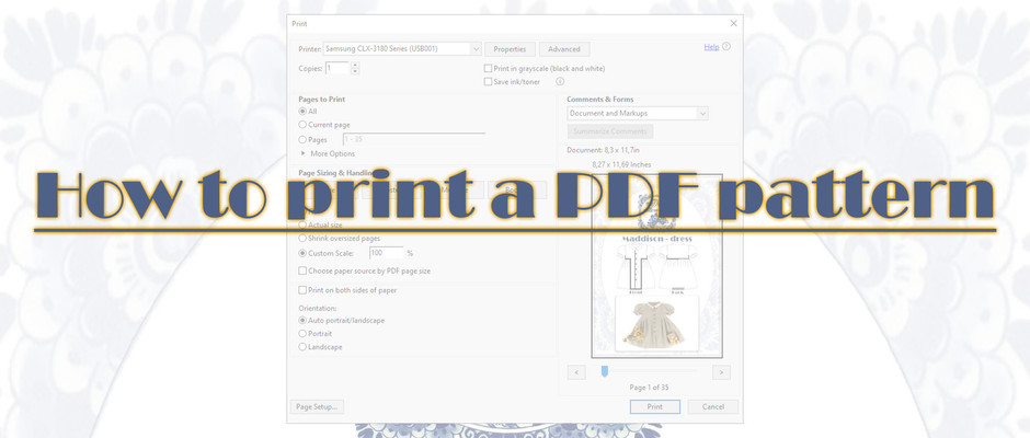 How to print a PDF pattern