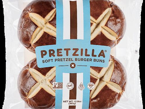 Pretzel Hamburger Buns - 4 pc