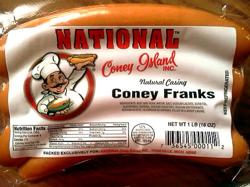 National Coney Island Hot Dogs - 8 pk