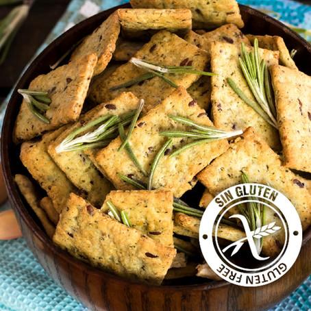 Crackers de harina de garbanzo, romero y ajo