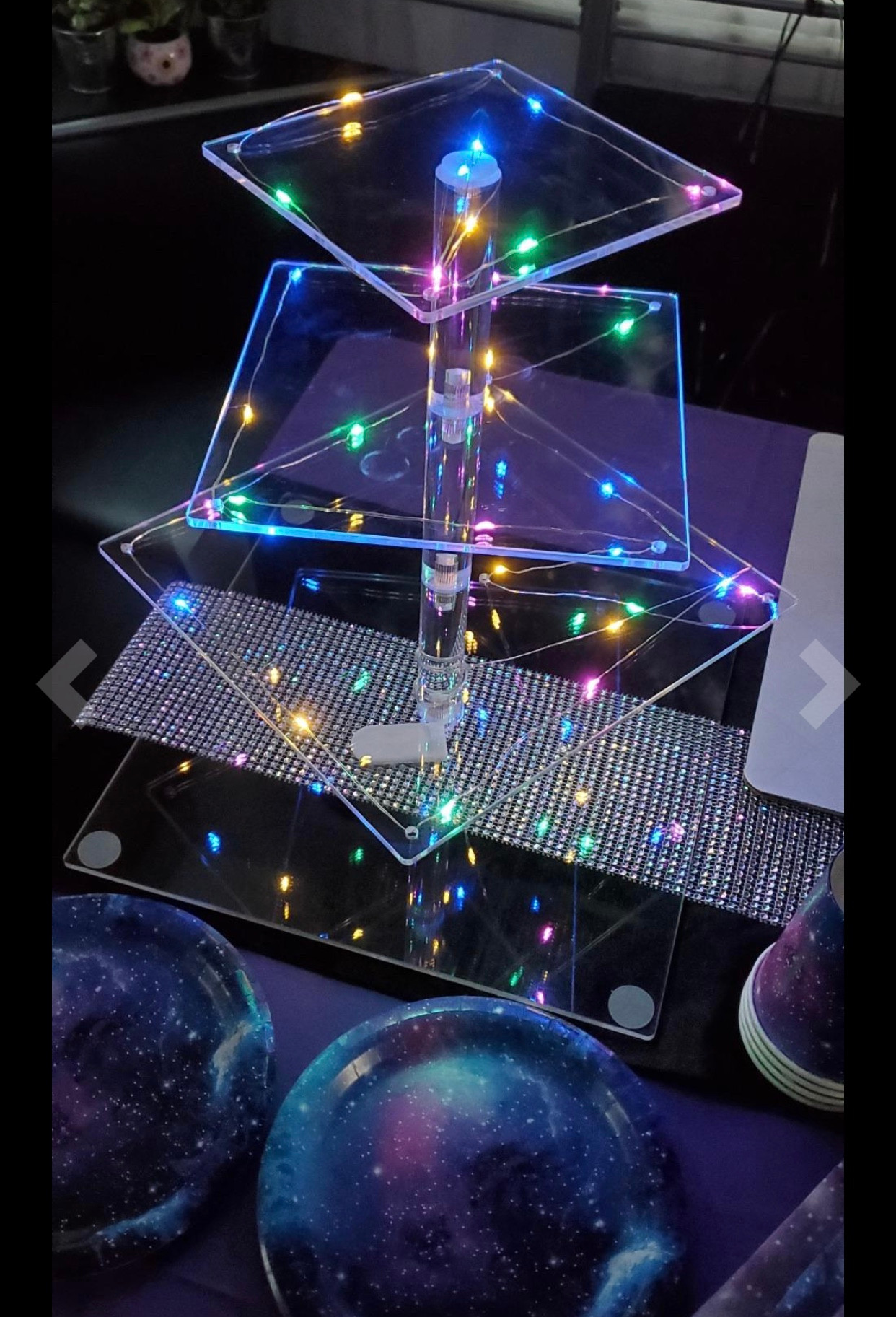 4-tier Square LED Cupcake Stand