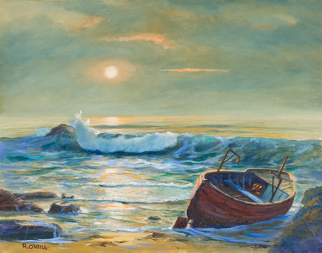Ocean with Red Boat