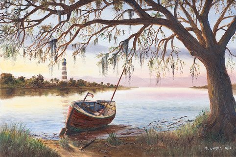Red Boat Under Tree
