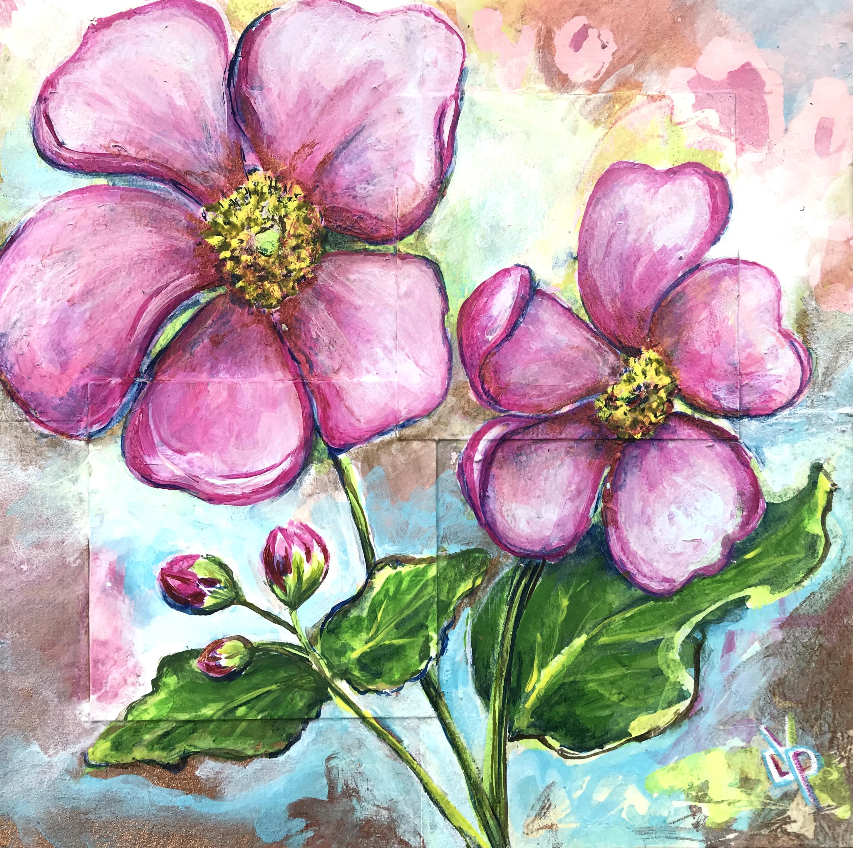 Anenome blooms mixed media