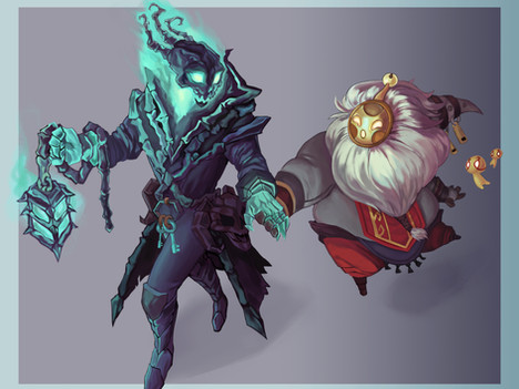 Fanart of Thresh and Bard from League of Legends.