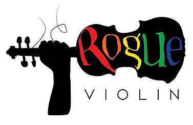 Rogue Violin Logo Queer_Solid_White_Back