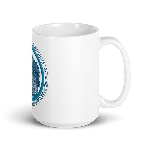 White glossy mug Church LOGO