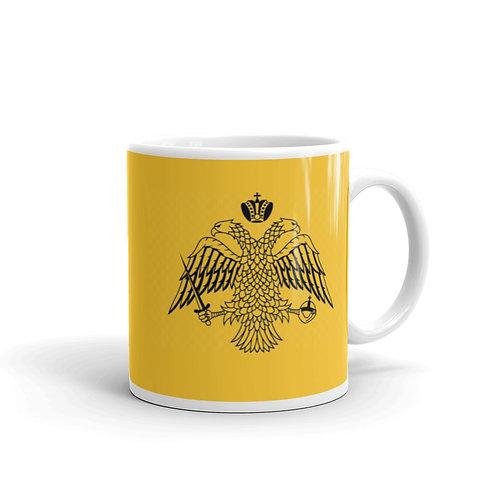 White glossy mug - Flag of Mouth Athos