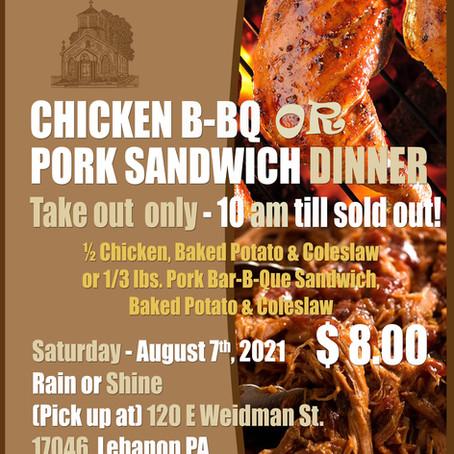Chicken B-BQ or Pork Sandwich Dinner