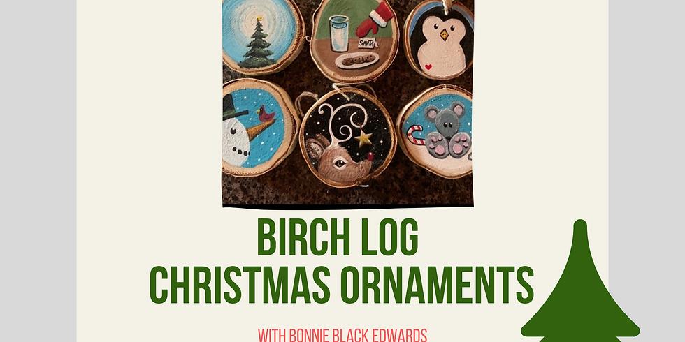 Birch Log Christmas Ornament Paint & Sip