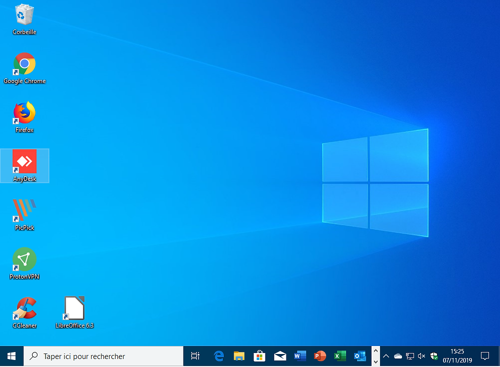 Bureau de Windows 10 après une mise à niveau depuis Windows 7