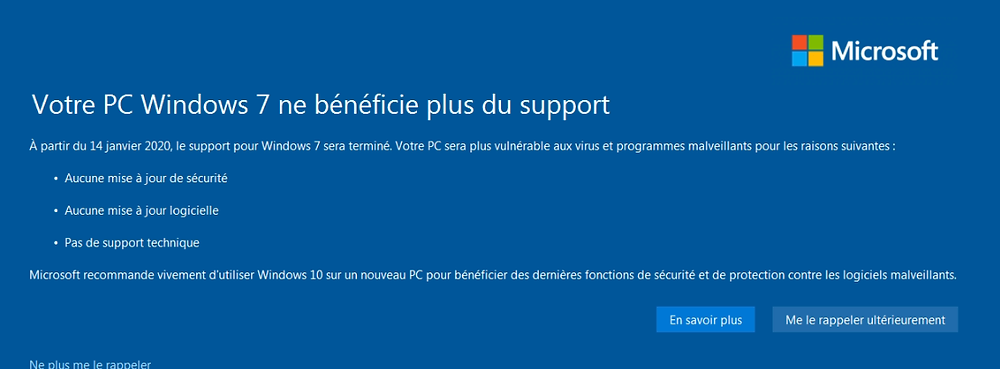 Votre PC Windows 7 ne bénéficie plus du support à partir du 14 janvier 2020