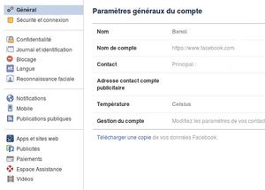 Facebook : télécharger une copie de vos données