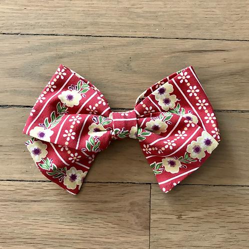 Hair Bows | Red Floral Polka Dot