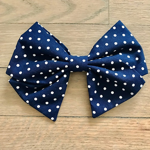 Sadie | Navy Blue Polka Dot Hair Bows