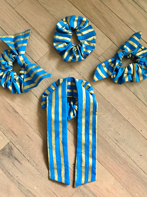Rifle Paper Co. Royal Blue & Gold Stripe Scrunchies