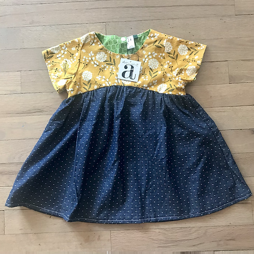 Penny | Mustard Floral & Chambray Dress