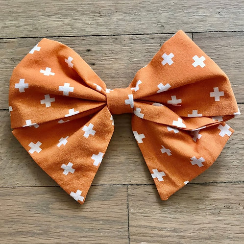 Hair Bows | Orange & White Swiss Cross