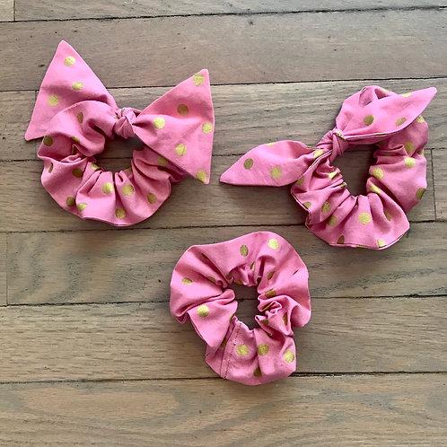 Rifle Paper Co. Pink & Gold Polka Dot Scrunchies