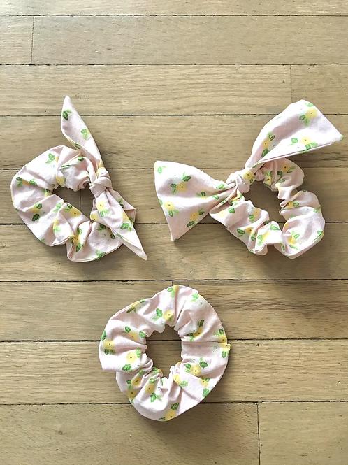 Pink & White Plaid Floral Scrunchies