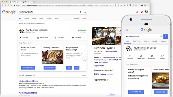 Google My Business on Desktop and Mobile