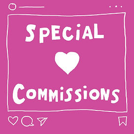 "Silent james illustration of a social media feed with ""Special Commissions"" written in the center."