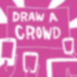 """Silent james illustration for his """"Draw a Crowd"""" service for receptions and trade shows."""