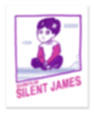 Cover to SIlent James illustrated memoir Secrets of Silent James, a nintendo cartridge cover parody with an illustration o SIlent James age 5 sitting cross legged with his hands together, he sits on Bowser's bridge witht he text Secrets of SIlent James - prepessimist entertainment series underneath