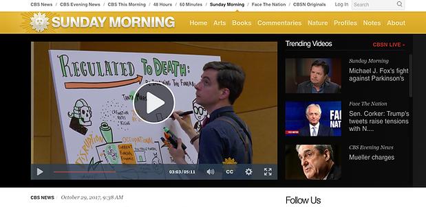 Screenshot of Silent James live illustration on CBS Sunday Morning.