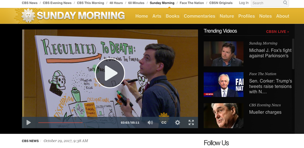 Screenshot of Silent James live illustration on CBS Sunday Morning.