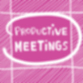 "Silent James illustration of a calendar where ""Productive Meetings"" is circled."